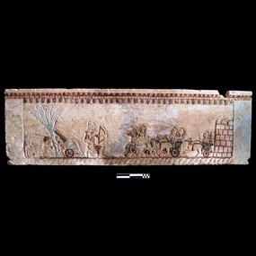 Local Museum of Palaipaphos, Kouklia (Paphos): Limestone sarcophagus from Palaepaphos – Kato-Alonia with mythological scenes. Length: 1.99 m., Width: 0. 67 m., Height: 61 m. Late archaci period (beginning of the 5th cent. BC). Inv. No. RRKM 485, Τ. 167/1. © The Cyprus Museum Archive.