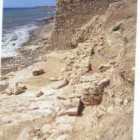 Amathous: Remains of the sea-wall to the south-east of the site. Remains of the Early Hellenistic rampart. View to the west. (Copyright: © Mission archéologique d'Amathonte EFA. Image: Pierre Leriche 1989).