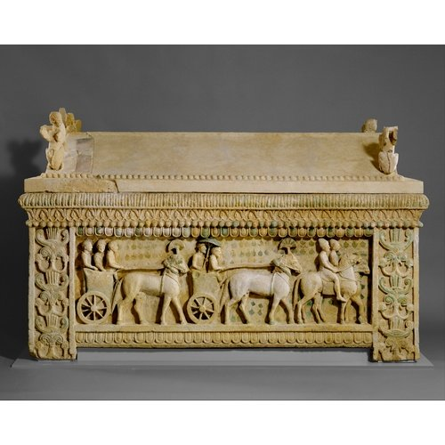 "Metropolitan Museum of Art: the ""Amathus sarcophagus"". Limestone. First quarter of the 5th century BC. From the north necropolis of Amathus. The Cesnola Collection, purchased by subscription, 1874-76 (74.51.2453)."