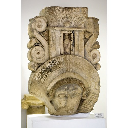 """Hathoric"" capital from the area of the Amathous ""palace"". Limassol Distric Museum, inv. no. AM-805 (courtesy of the Director of the Department of Antiquities, Cyprus)."