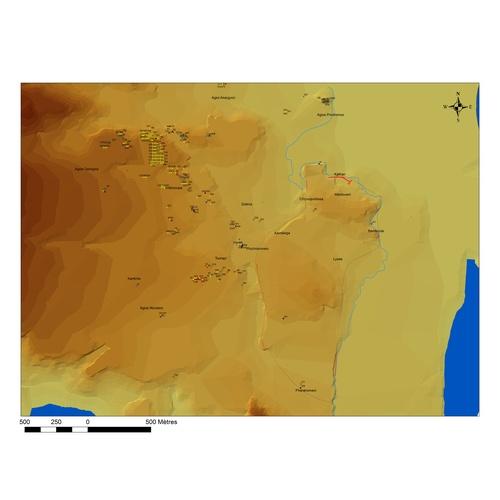 Τοπογραφικός χάρτης του Κιτίου (© Γαλλική αρχαιολογική αποστολή Κιτίου και Σαλαμίνας, προέρχεται από Kition GIS, A. Rabot)