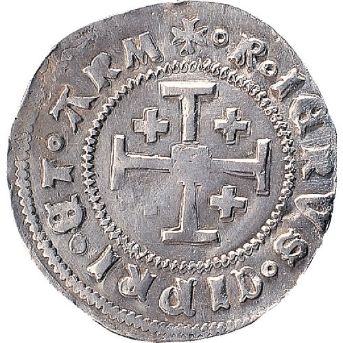 James II, 1460-1473, Nicosia (?) Gros petit, AR, 1.86 gm, 24 mm, axis 12:00  Obv.: Crowned portrait of the king to the right. IACOB SDEI G R IER Rev.: Cross of Jerusalem. R IERVS CIPRI ET ARM BCCF 1997-01-02