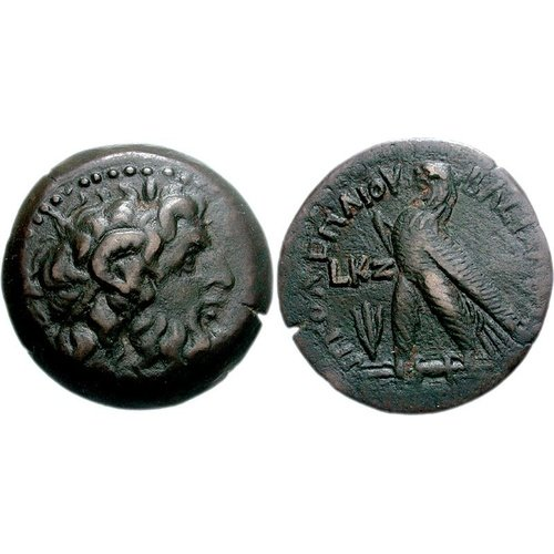Bronze coin from Cyprus dated from 27th year of Ptolemy VIII=144/3. CNG 76, 12 December 2007, 916 (9,38 g, 24 mm, 12 h). Sv. 1622.