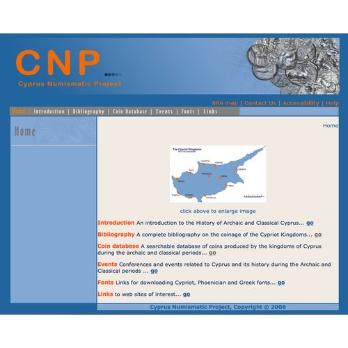 First version of the CNP's website in the University of Edinburgh