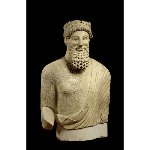 Votive torso of bearded man with vegetal wreath from Idalion-Mouti tou Arvili, 5th century BC, British Museum, Greek & Roman Antiquities, (Inv. number: 1917,0701.233) © Trustees of the British Museum.