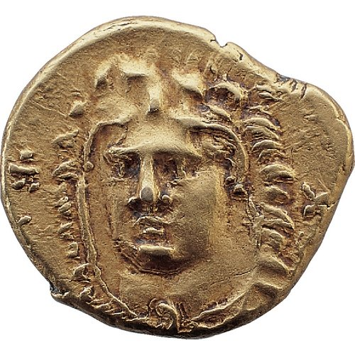 Evagoras I, 411-374/3 BC  1/4 stater, AV, 2.05 gm, 12 mm, axis 3:00 Obv.: Head of beardless Heracles nearly facing, wearing lion skin; in left and right fields, in syllabic script e-[u-wa-ko]-ro.  Rev.: Goat lying right on exergual line; in front, above and below, in syllabic script pa/si-le/-o/-se; in exergue, ivy leaf; the whole in linear circle. BCCF 1985-02-01