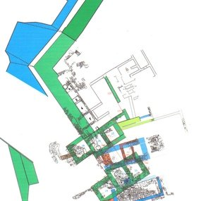 Schematic plan of the north rampart of Amathous: in green, the trace of the Archaic period (copyright: © Mission d'Amathonte EFA. Designed by T. Kozelj, P. Aupert).