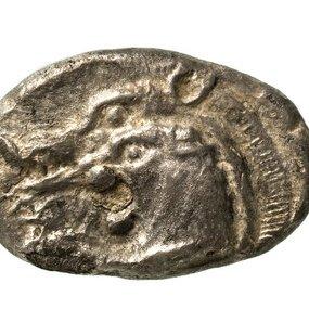 Νομίσματα με αναπαραστάσεις αγριόχοιρου, λιονταριού και ημίτομο λιονταριού και αγριόχοιρου.