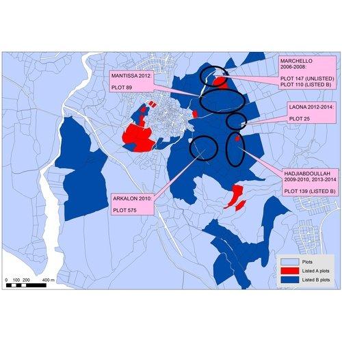 Χάρτης της περιοχής των Κουκλιών με εκτάσεις σημειωμένες ως Ζώνη Α και Β και τις θέσεις που ανασκάφηκαν από Palaepaphos Urban Landscape Project (ευγενής παραχώρηση του Palaepaphos Urban Landscape Project).