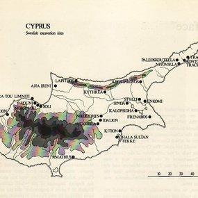 Χάρτης της Κύπρου με τις θέσεις που ανέσκαψε η Σουηδική Αποστολή (Medelhavsmuseet, Memoir 2, 1977, σ. 6)