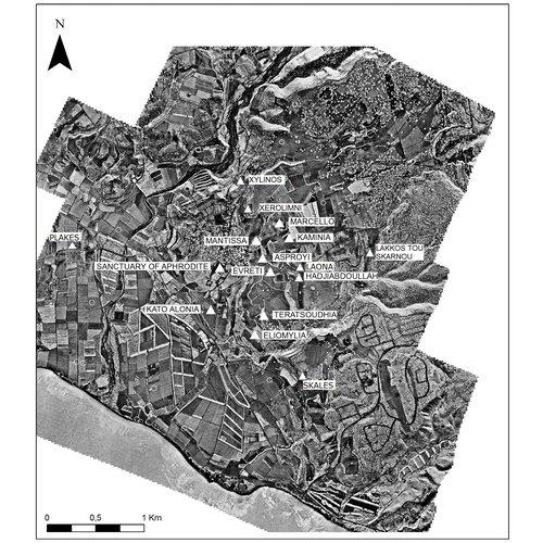 Ορθοφωτογραφία - χάρτης των Κουκλιών (Παλαιπάφου) όπου εμφανίζονται οι ξεχωριστές τοποθεσίες (ευγενής παραχώρηση του Palaepaphos Urban Landscape Project).