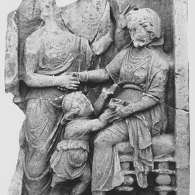 Grave relief of a seated woman (Late 4th - early 3rd century BC). Regional Museum of Paphos, PM 2023. © Department of Antiquities (photograph: Department of Antiquities).