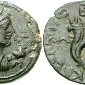 Bronze coin from Cyprus dated to the reign of Cleopatra VII. CNG Triton XIII, 5 January 2010, 241 (15,13 g, 27 mm, 11 h). Sv. 1874=RPC I, 3901.