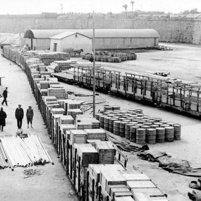 Cypriot Antiquities at the port of Famagusta, ready to be transferred to Sweden (courtesy of Medelhavsmuseet)