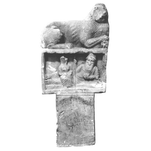 Grave relief with funerary banquet scene, unknown provenance (Second quarter of the 5th century BC). Cyprus Museum, Nicosia, C235. © Department of Antiquities (photograph: Department of Antiquities)