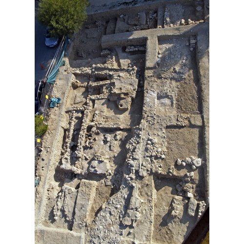 Όψη ανασκαφών στη γωνία των οδών Χατζοπούλου και Νικοκρέοντος (ανατολική επέκταση του αρχαιολογικού χώρου του λόφου Αγίου Γεωργίου, Λευκωσία).