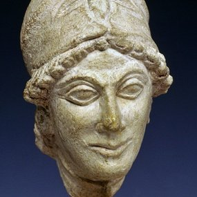 Cyprus Museum, Nicosia: Limestone head of the statue of godess Athena. Vouni Palace. Hall ΙΙ. Height. : 10.15 cm. 5th cent. BC. Inv. No. : V.P. 210. © The Cyprus Museum Archive.