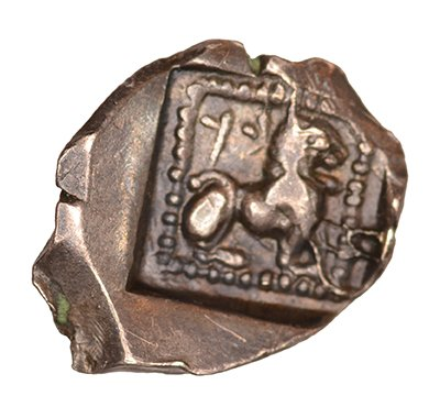 Οπισθότυπος 'SilCoinCy A1045, acc.no.: RP 248.7. Silver coin of king Baalmilk I of Kition 475 - 450 BC. Weight: .87g, Axis: 7h, Diameter: 12mm. Obverse type: Heracles head r. unbearded with  lion skin headdress. Obverse symbol: -. Obverse legend: - in -. Reverse type: Lion seated r.. Reverse symbol: -. Reverse legend: bl in -. '-', 'Du classement des séries chypriotes'.