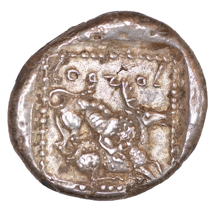 Οπισθότυπος 'SilCoinCy A1048, acc.no.: KP 1514.6. Silver coin of king Ozibaal of Kition 450 - 425 BC. Weight: 0.92 g, Axis: 4h, Diameter: 22mm. Obverse type: Heracles advancing r. holding club and bow. Obverse symbol: -. Obverse legend: - in -. Reverse type: Lion devouring stag r.. Reverse symbol: -. Reverse legend: L'zb'l in Phoenician. '-', 'BMC Cyprus, A Catalogue of the Greek Coins in the British Museum, Cyprus'.