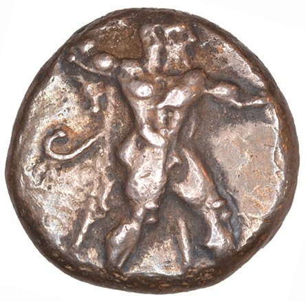 Εμπροσθότυπος 'SilCoinCy A1049, acc.no.: KP 531.26. Silver coin of king Ozibaal of Kition 450 - 425 BC. Weight: 3.63 g, Axis: 9h, Diameter: 14mm. Obverse type: Heracles advancing r. holding club and bow. Obverse symbol: -. Obverse legend: - in -. Reverse type: Lion devouring stag r.. Reverse symbol: -. Reverse legend: L'zb'l in Phoenician. '-', 'Du classement des séries chypriotes'.
