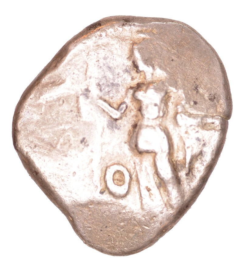 Εμπροσθότυπος 'SilCoinCy A1061, acc.no.: kp 2073.14. Silver coin of king Uncertain king of Lapethos of Lapethos 500 - 470 BC. Weight: 1.02 g, Axis: 12h, Diameter: 25mm. Obverse type: Athena standing l. with crested Athenian helmet, spear and shield. Obverse symbol: -. Obverse legend: - in -. Reverse type: Heracles advancing r. holding club and bow. Reverse symbol: -. Reverse legend: - in -. '-'.