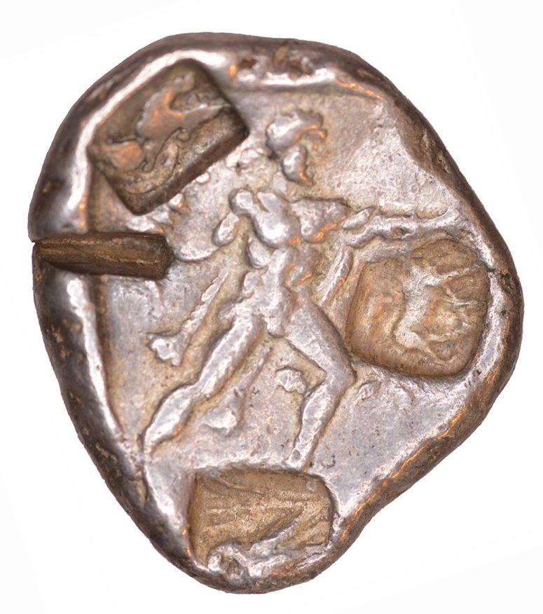 Οπισθότυπος 'SilCoinCy A1061, acc.no.: kp 2073.14. Silver coin of king Uncertain king of Lapethos of Lapethos 500 - 470 BC. Weight: 1.02 g, Axis: 12h, Diameter: 25mm. Obverse type: Athena standing l. with crested Athenian helmet, spear and shield. Obverse symbol: -. Obverse legend: - in -. Reverse type: Heracles advancing r. holding club and bow. Reverse symbol: -. Reverse legend: - in -. '-'.