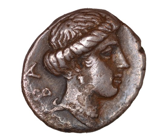 Οπισθότυπος 'SilCoinCy A1099, acc.no.: KP 12.37. Silver coin of king Pnytagoras of Salamis 351 - 332 BC. Weight: 2.17 g, Axis: 12h, Diameter: 14mm. Obverse type: Aphrodite head l. with diadem and long hair. Obverse symbol: -. Obverse legend: Π (Ν) in -. Reverse type: Artemis head r. . Reverse symbol: -. Reverse legend: BA in Greek. '-', 'Du classement des séries chypriotes'.