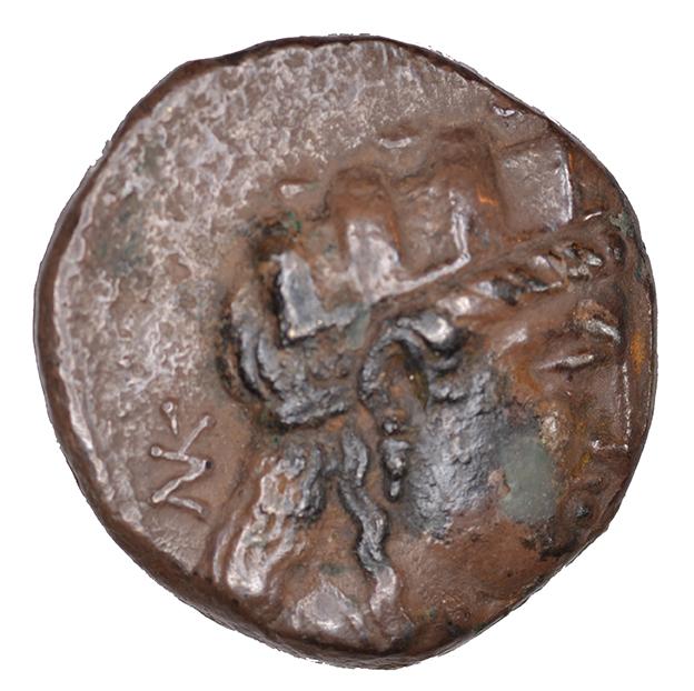 Εμπροσθότυπος 'SilCoinCy A1100, acc.no.: KP 929.42. Silver coin of king  of  . Weight: 6.14g, Axis: 12h, Diameter: 18mm. Obverse type: Aphrodite head r. with turreted crown. Obverse symbol: -. Obverse legend: NK in Greek. Reverse type: Apollo head l. with laurel wreath. Reverse symbol: -. Reverse legend: BA in Greek. '-'.