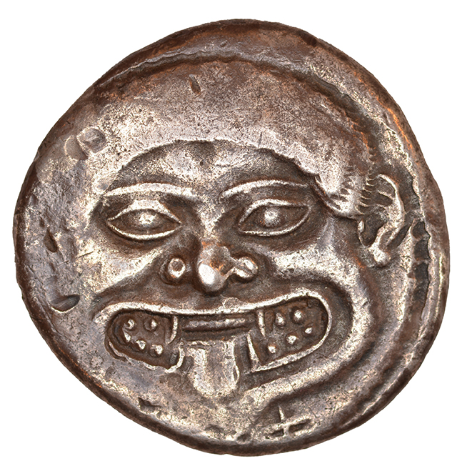Εμπροσθότυπος 'SilCoinCy A1101, acc.no.: KP 2119.1. Silver coin of king Uncertain king of Cyprus (archaic period) of Uncertain Cypriot mint  - . Weight: 0.88 g, Axis: 12h, Diameter: 22mm. Obverse type: Gorgoneion. Obverse symbol: -. Obverse legend: lo or pa in -. Reverse type: Ankh. Reverse symbol: -. Reverse legend: pa in Cypriot syllabic. '-'.