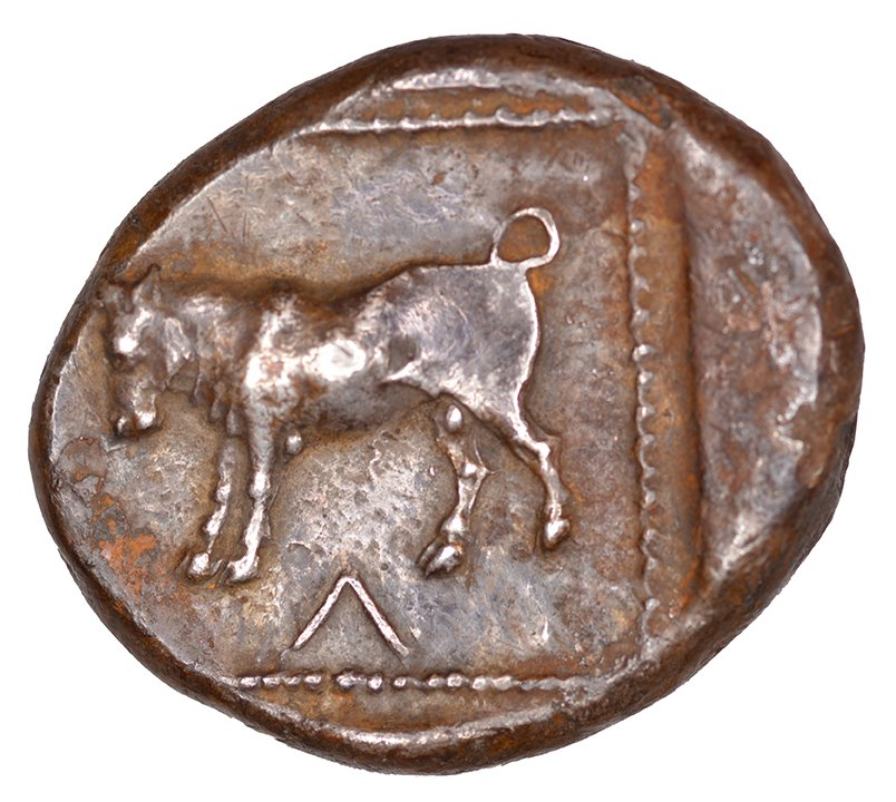 Οπισθότυπος 'SilCoinCy A1103, acc.no.: KP 833.46. Silver coin of king Uncertain king of Cyprus (archaic period) of Kourion ?  - . Weight: 0.60 g, Axis: 4h, Diameter: 24mm. Obverse type: Lion crouching r.. Obverse symbol: -. Obverse legend: ko in Cypriot syllabic. Reverse type: Bull standing l.. Reverse symbol: -. Reverse legend: ko in Cypriot syllabic. '-', 'Catalogue des monnaies grecques de la Bibliothèque Nationale: les Perses Achéménides, les satrapes et les dynastes tributaires de leur empire: Cypre et la Phénicie', 'BMC Cyprus, A Catalogue of the Greek Coins in the British Museum, Cyprus'.