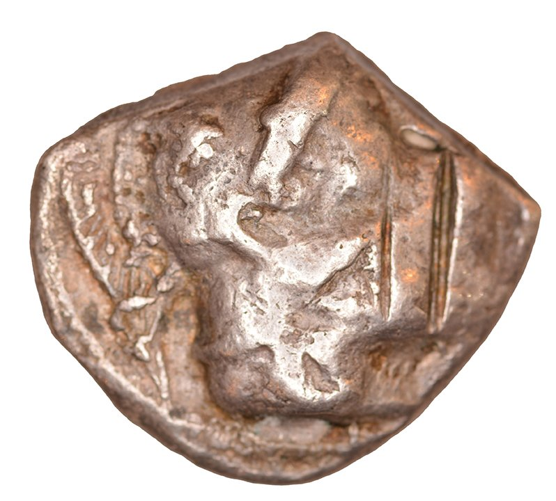 Εμπροσθότυπος 'SilCoinCy A1109, acc.no.: KP 2418.2. Silver coin of king Uncertain king of Lapethos of Lapethos 500 - 470 BC. Weight: 9.04 g, Axis: 3h, Diameter: 23mm. Obverse type: Athena head r. with attic helmet. Obverse symbol: -. Obverse legend: - in -. Reverse type: Heracles head r. bearded with lion skin headdress. Reverse symbol: -. Reverse legend: - in -. 'SNG Copenhague, supplement, Acquisitions 1942-1996', 'BMC Cyprus, A Catalogue of the Greek Coins in the British Museum, Cyprus', 'Archaic Greek Coinage. The Asyut Hoard', 'Traité des monnaies grecques et romaines'.