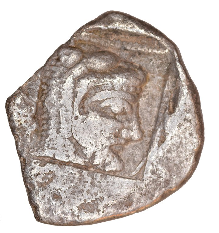 Οπισθότυπος 'SilCoinCy A1109, acc.no.: KP 2418.2. Silver coin of king Uncertain king of Lapethos of Lapethos 500 - 470 BC. Weight: 9.04 g, Axis: 3h, Diameter: 23mm. Obverse type: Athena head r. with attic helmet. Obverse symbol: -. Obverse legend: - in -. Reverse type: Heracles head r. bearded with lion skin headdress. Reverse symbol: -. Reverse legend: - in -. 'SNG Copenhague, supplement, Acquisitions 1942-1996', 'BMC Cyprus, A Catalogue of the Greek Coins in the British Museum, Cyprus', 'Archaic Greek Coinage. The Asyut Hoard', 'Traité des monnaies grecques et romaines'.