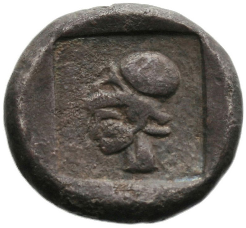 Οπισθότυπος 'SilCoinCy A1821, acc.no.: . Silver coin of king Uncertain king of Lapethos of Lapethos 500 - 470 BC. Weight: 10.58g, Axis: 7h, Diameter: 23mm. Obverse type: Female head r. with long hair and circular earring. Obverse symbol: -. Obverse legend: - in -. Reverse type: Athena head l. with corinthian helmet. Reverse symbol: -. Reverse legend: - in -. 'BMC Cyprus, A Catalogue of the Greek Coins in the British Museum, Cyprus'.