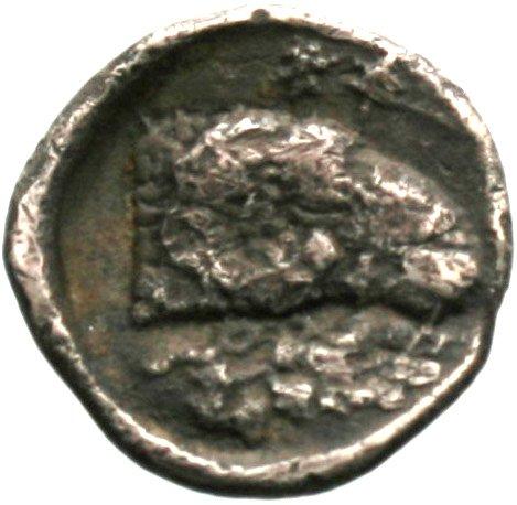 Οπισθότυπος 'SilCoinCy A1844, acc.no.: . Silver coin of king Evanthes of Salamis ca 450 BC  - . Weight: 1.59g, Axis: 2h, Diameter: 13mm. Obverse type: Ram recumbent l.. Obverse symbol: -. Obverse legend: pa in Cypriot syllabic. Reverse type: Ram's head r. ; laurel branch below. Reverse symbol: -. Reverse legend: pa-e in Cypriot syllabic.
