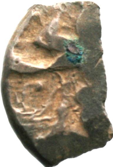 Εμπροσθότυπος 'SilCoinCy A1924, acc.no.: . Silver coin of king Baalmilk I of Kition 475 - 450 BC. Weight: 3.82g, Axis: 6h, Diameter: 16mm. Obverse type: Heracles advancing r. holding club and bow. Obverse symbol: -. Obverse legend: - in -. Reverse type: Lion seated r., ram's head on it's feet. Reverse symbol: -. Reverse legend: mlk in Phoenician.